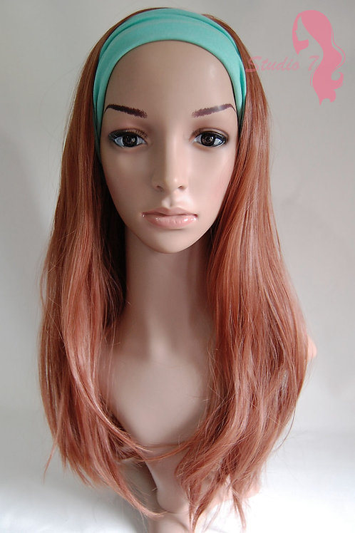 W49 Light Auburn Ginger Mix Straight 3/4 Wig Clip In Hair Piece