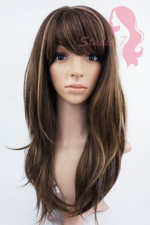 W139 Mid Brown Mix Long Wavy Layered
