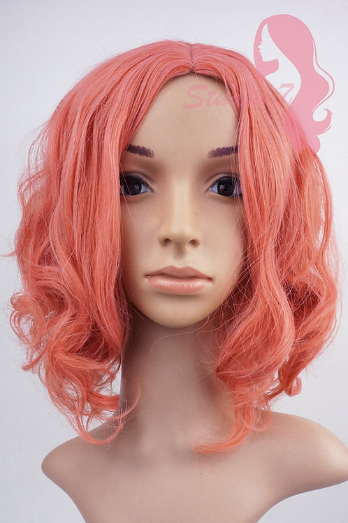 W122 Salmon Pink Beach Waves Shoulder Length Wig
