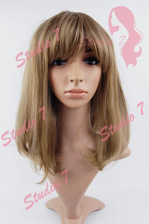W183 Caremel Ash Brown Mid Length Sythetic Wig