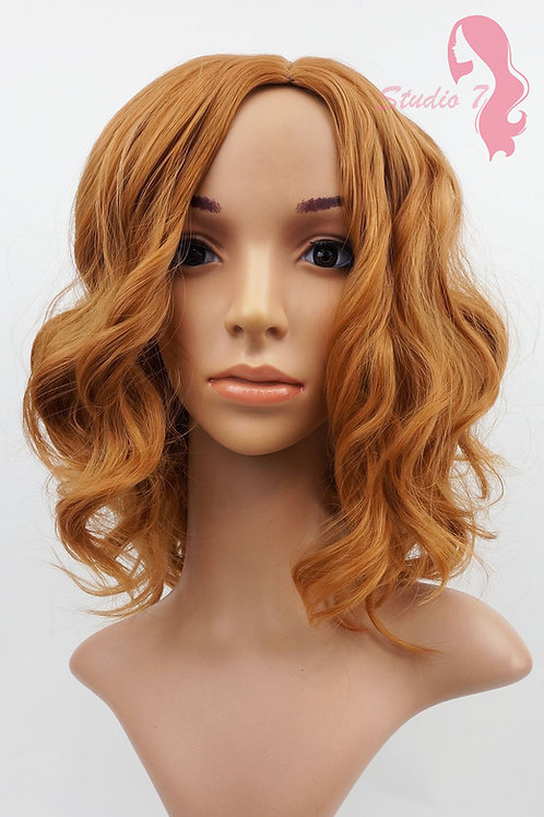 W89 Dark Ginger / Blonde Mix Short Wavy Synthetic Skin Top Wig