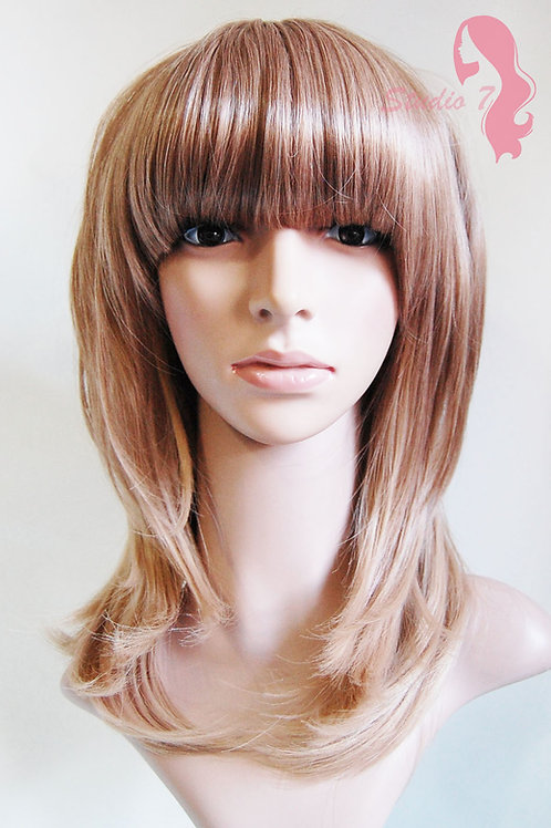 W69 Light Brown Blonde Ombre Layered Straight Fringe Wig