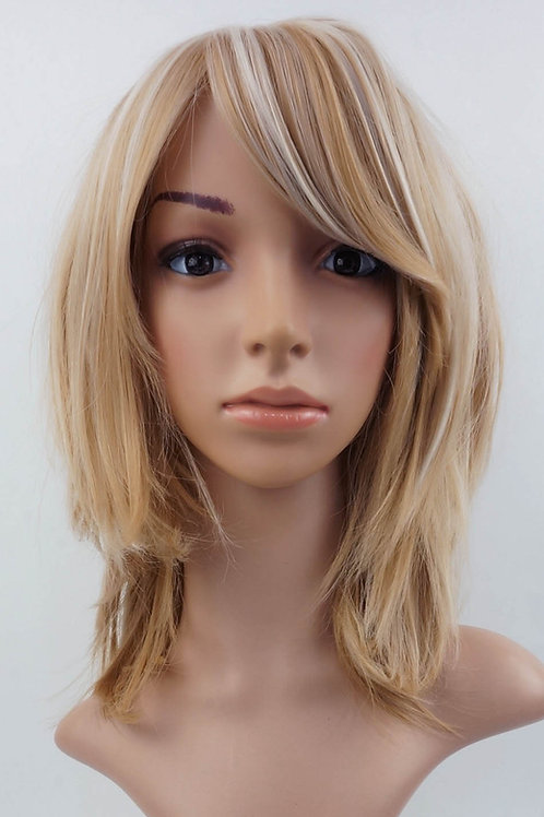 W23 Honey Blonde Highlight Mid Length Wavy Natural Wig