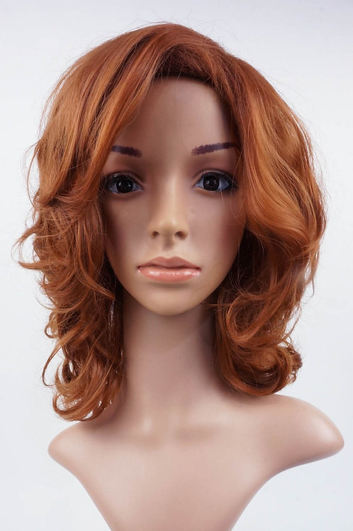 W15 Auburn Brown Wavy Medium Length Wig