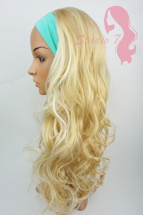 W116 Mix Bleached Blonde Curly 3/4 Wig Clip In Hair