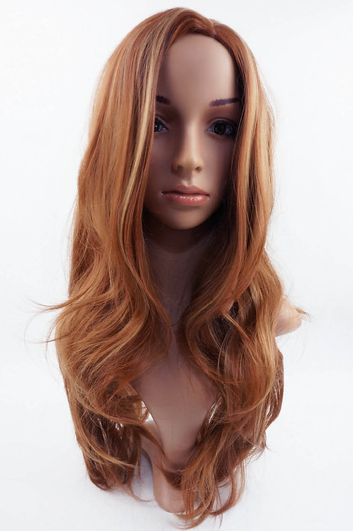 W36 Auburn Mix Long Wavy Synthetic Wig