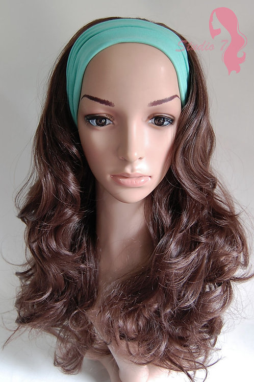 W45 Chocolate Brown Curly 3/4 Wig Clip In Hair Piece