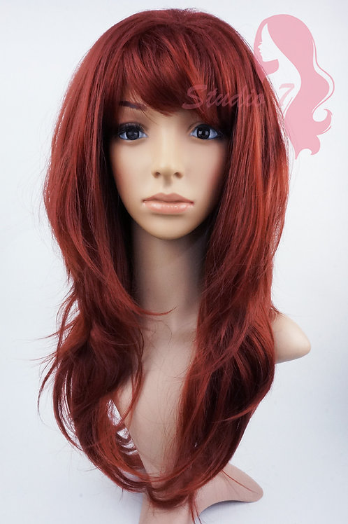 W143 Copper Red Long Wavy Layered