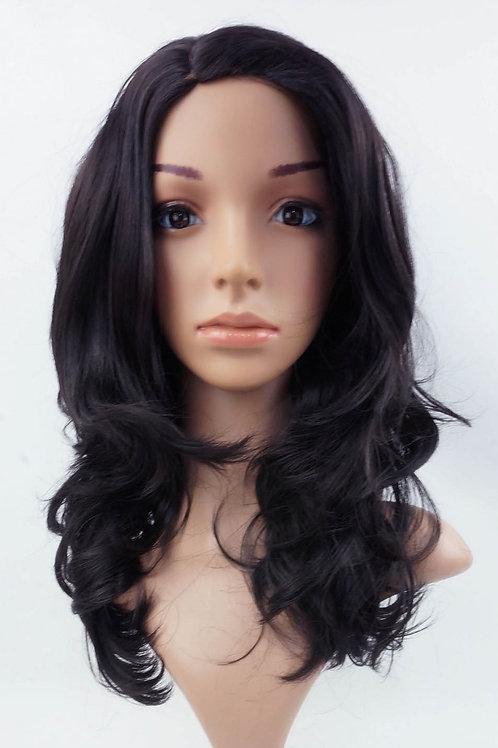 W18 Natural Black Mid Length Wavy Natural Skin Top Wig