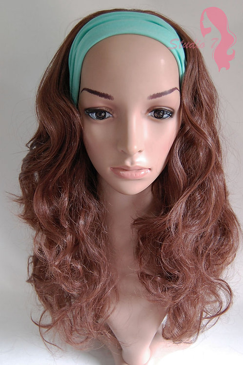 W44 Chestnut Brown Curly 3/4 Wig Clip In Hair Piece