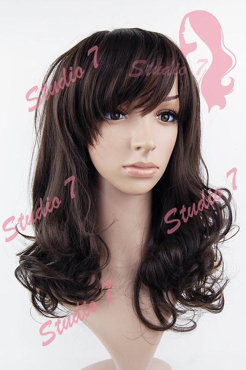 W194 Dark Brown Mid Length Curl Wig