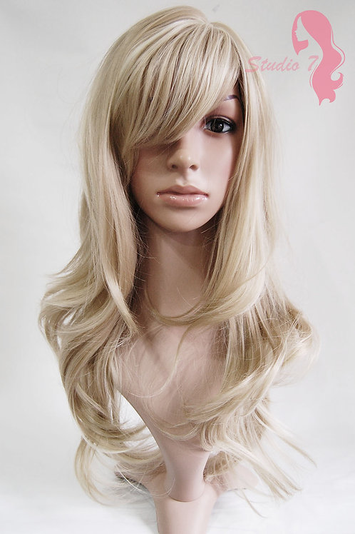 W61 Ash Blonde Bleach Blonde Highlight Long Wavy Wig