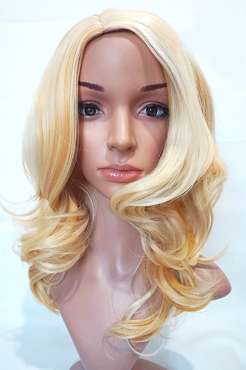 W20 Bleached Blonde Mix Mid Length Wavy Natural Skin Top Wig