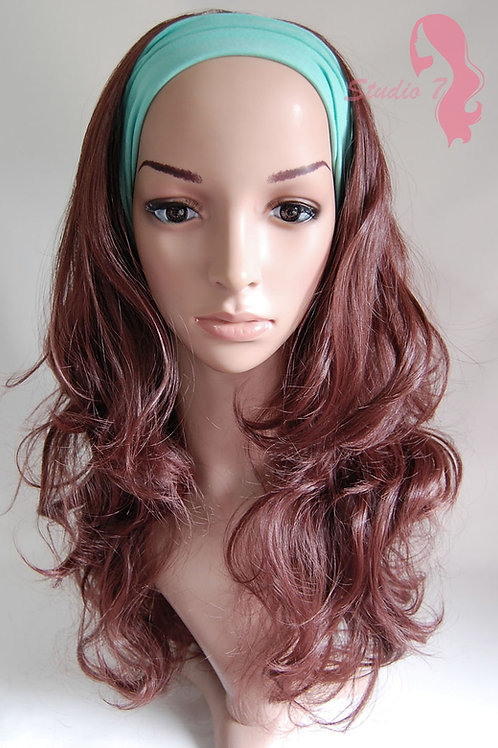 W43 Wine Red Brown Curly 3/4 Wig Clip In Hair Piece