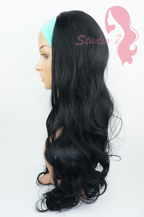 W117 Jet Black Curly 3/4 Wig Clip In Hair