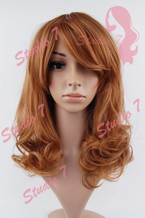 W191 Auburn Dark Ginger Mid Length Curl Wig
