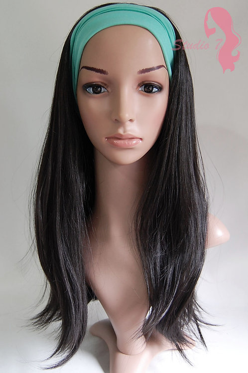 W52 Natural Black Straight 3/4 Wig Clip In Hair Piece