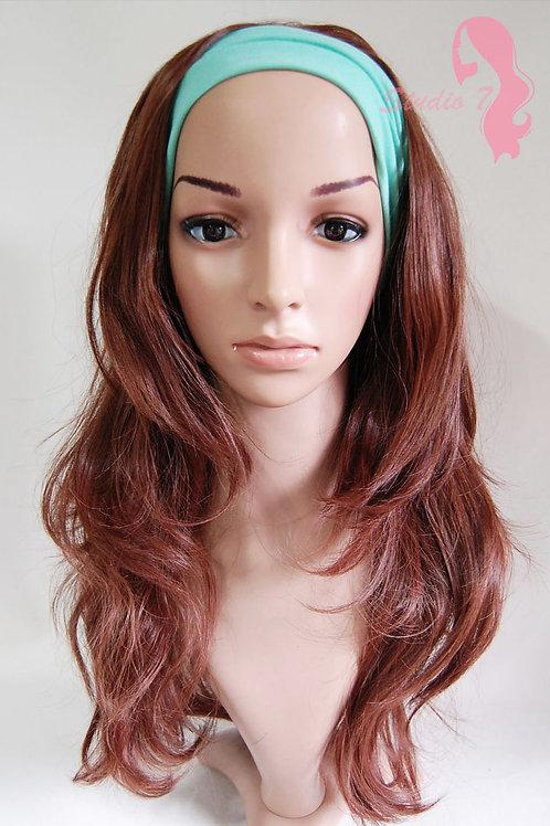 W58 Chestnut Brown Wavy 3/4 Wig Clip In Hair Piece