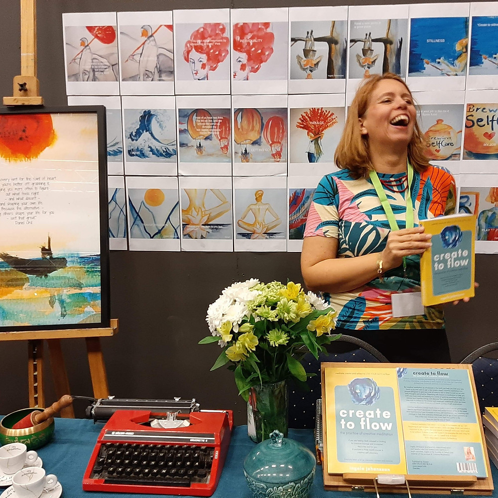 Photo from the book fair in Karlstad with Ingela Johansson and Create to Flow