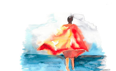 an illustration of a llady in a poncho by the sea, made by Ingela Johansson