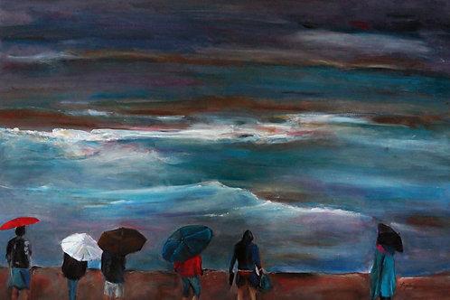 At the Sunshine coast, rainy day