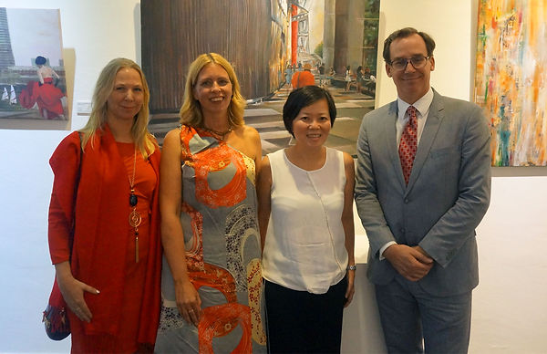 Ingela Johansson, Catharina Jevrell and Håan Jevrell former Swedish ambassador in Singapore at art exhibition