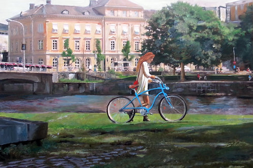 Blå cykel,konsttryck