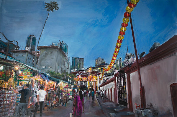 Chinatown in Singapore mixed media work by Anne Nyblaeus photo and painting Ingela Johansson