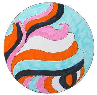 A mandala with color pens by Ingela Johansson