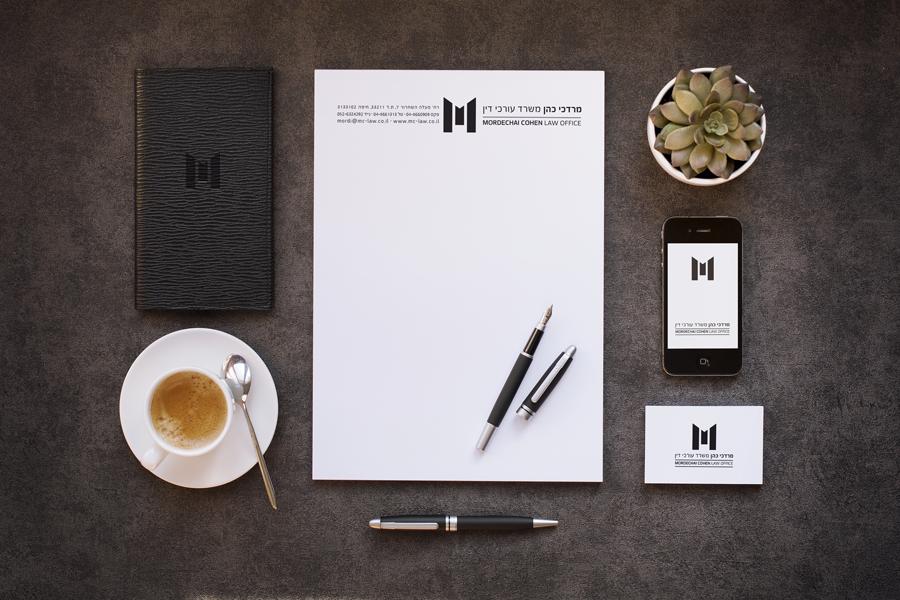 משרד עורכי הדין מרדכי כהן.עיצוב ומיתוג חזותי. עיצוב לוגו, עיצוב כרטיסי ביקור, ניירת משרדית, חתימה למייל