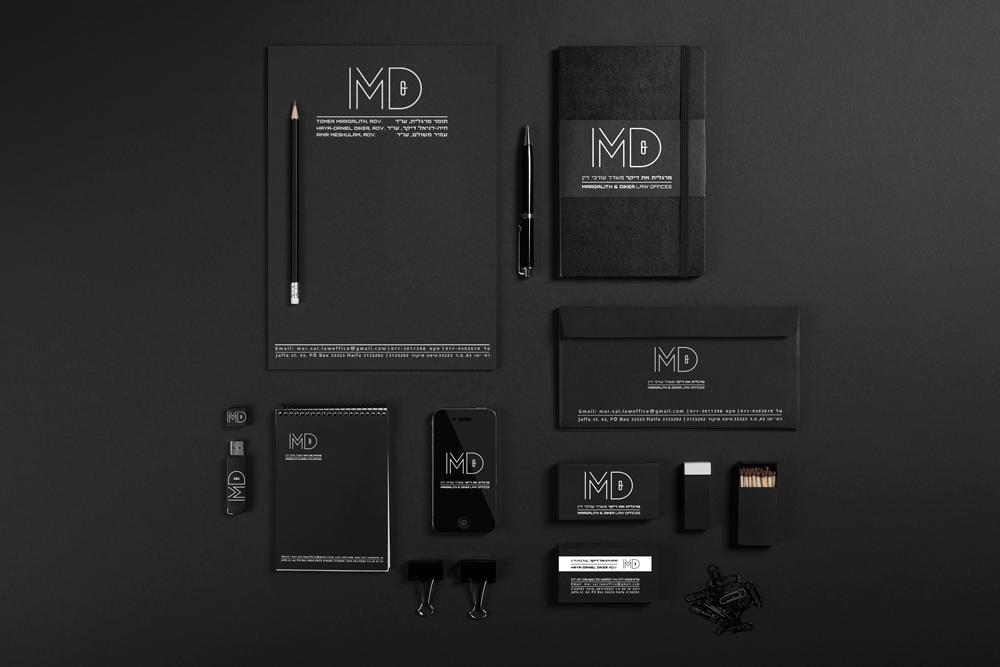 משרד עורכי הדין מרגלית את דיקר.עיצוב ומיתוג חזותי. עיצוב לוגו, עיצוב כרטיסי ביקור, ניירת משרדית, חתימה למייל