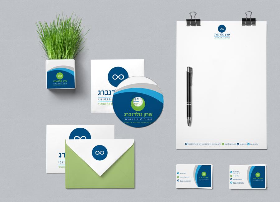 חברת שרון גולדנברג. תחום הביטוח הפננסי. עיצוב לוגו, עיצוב כרטיסי ביקור, ניירת משרדית, עיצוב רולאפים ופוסטרים