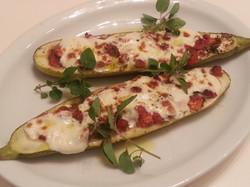 Tomato Mozzarella Stuffed Zucchini