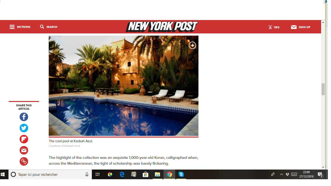La Kasbah Azul dans le New York Post