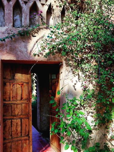 Porte Berbère du jardin Ecolodge Kasbah Azul Agdz