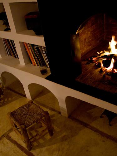 Ambiance d'une soirée d'hiver à l'Ecolodge la Kasbah Azul