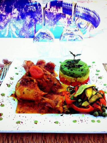 dîner près de la piscine kasbah azul