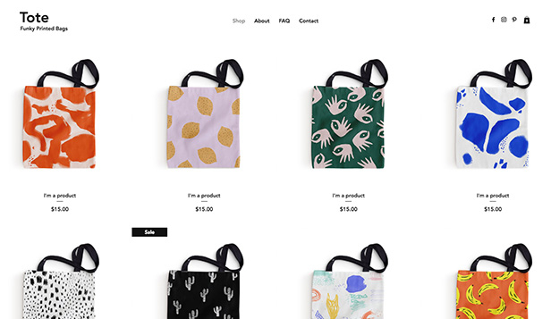 Webshop website templates – Tote Bag Shop