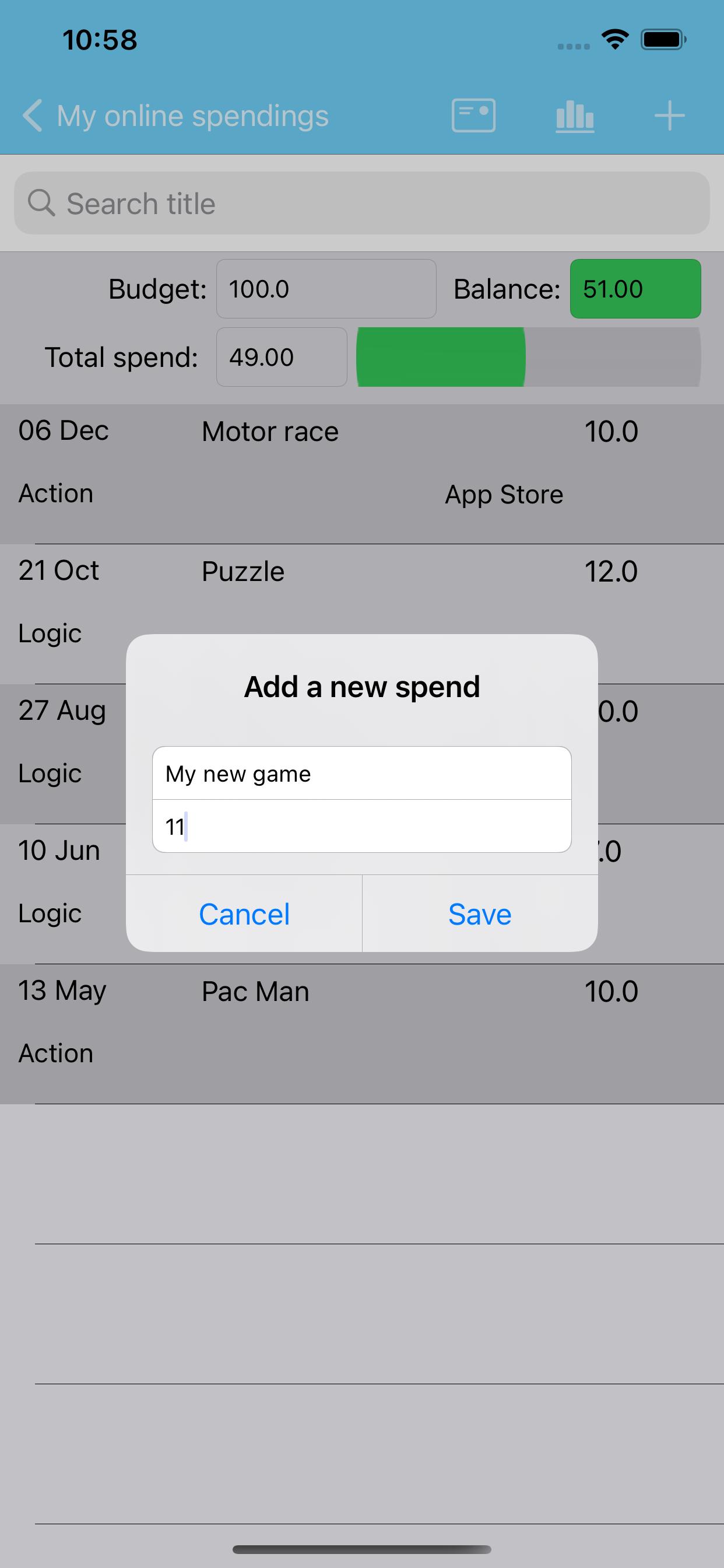Add a new spend