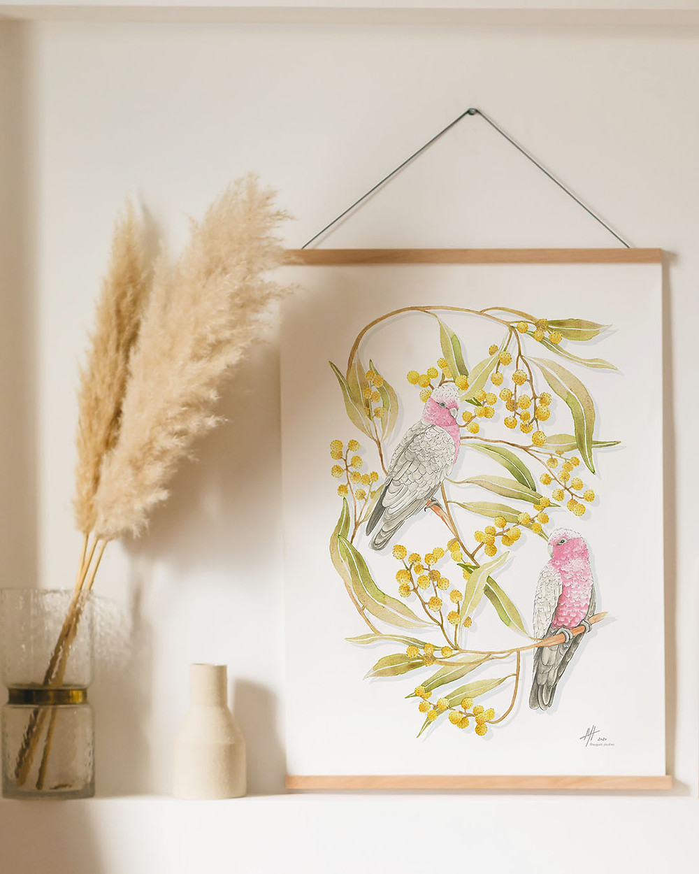 'Galahs in the Wattle Trees' Watercolour artwork by Michelle Holik