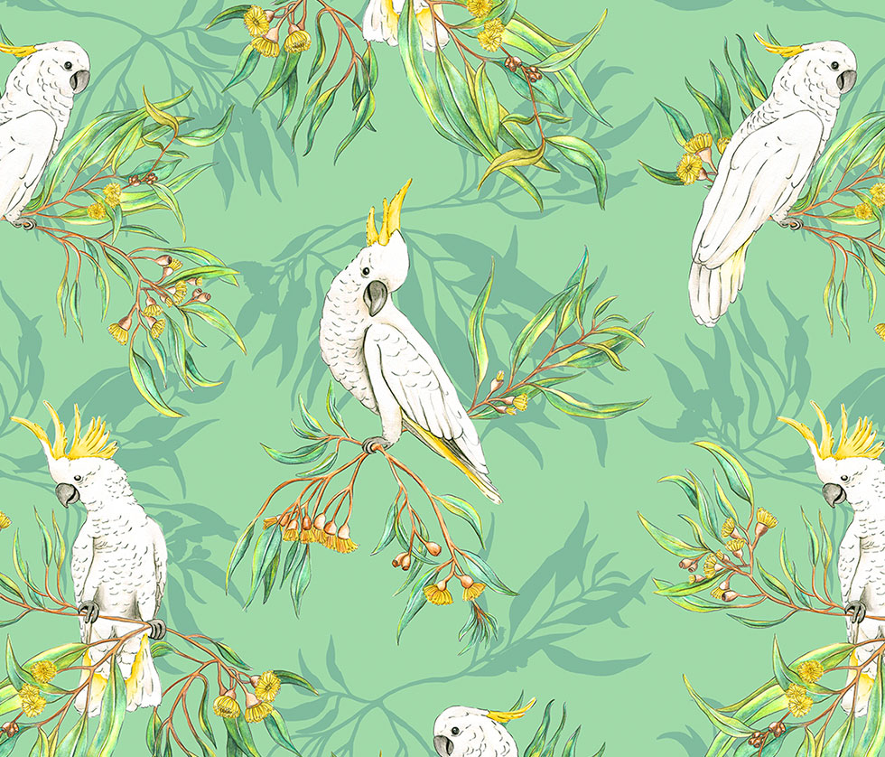 Cockatoos in the Trees - Green
