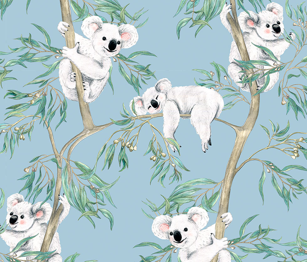 Koalas in the Trees - Sky Blue