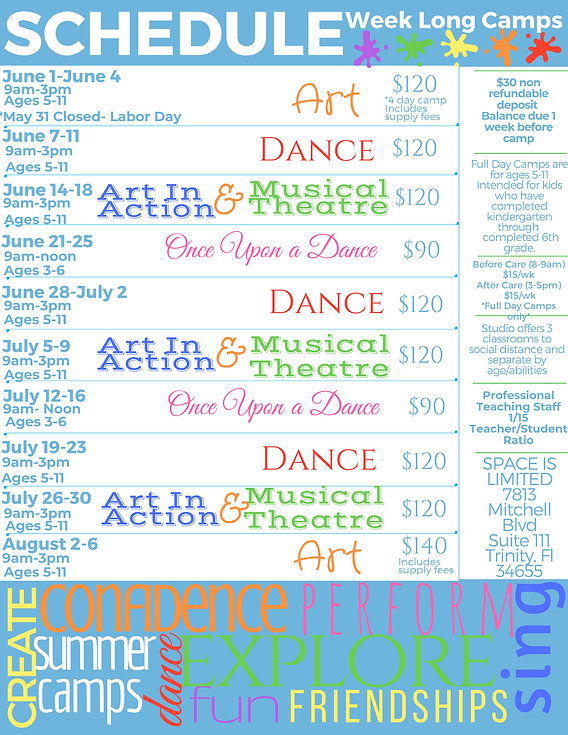 Summer Camps Trinity New Port Richey Florida Dance Art Music Acting Singing Musical Theatre