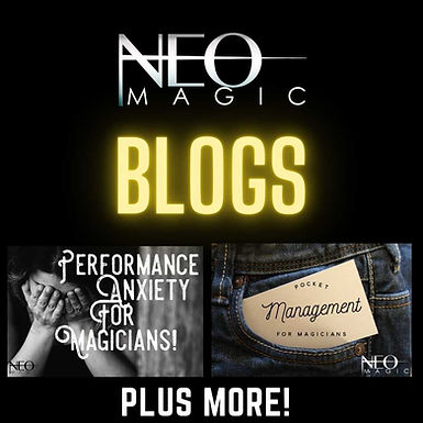 Neo Magic Blogs read now by Vinny Sagoo about topics like Performance anxiety for magicians and pocket management.