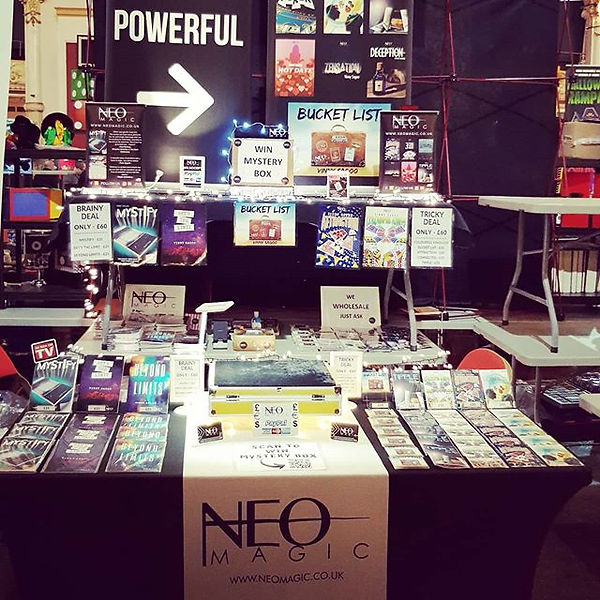 Neo Magic stand at the Blackpool Magic Convention, which is the biggest magic convention in the world. On display packet tricks, mind reading and books.