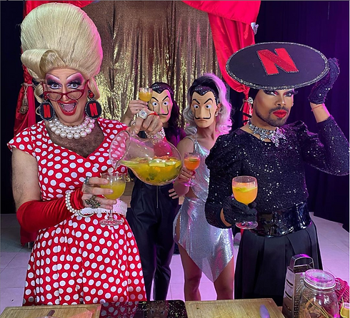 Drag Taste Queens making an interactive live stream online virtual class for companies and corporate netflix team building