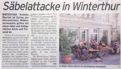 """Säbelattacke in Winterthur"""