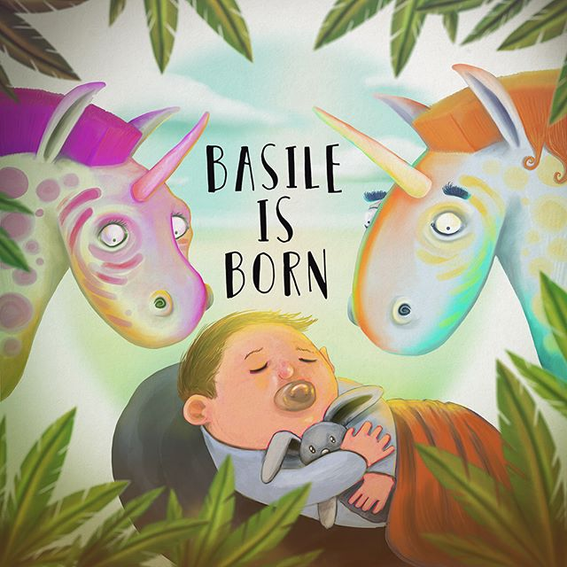 Faire-part de naissance 🦄 #unicorn #born #basile #horse #digitalart #cintiq #wacom #maxrey