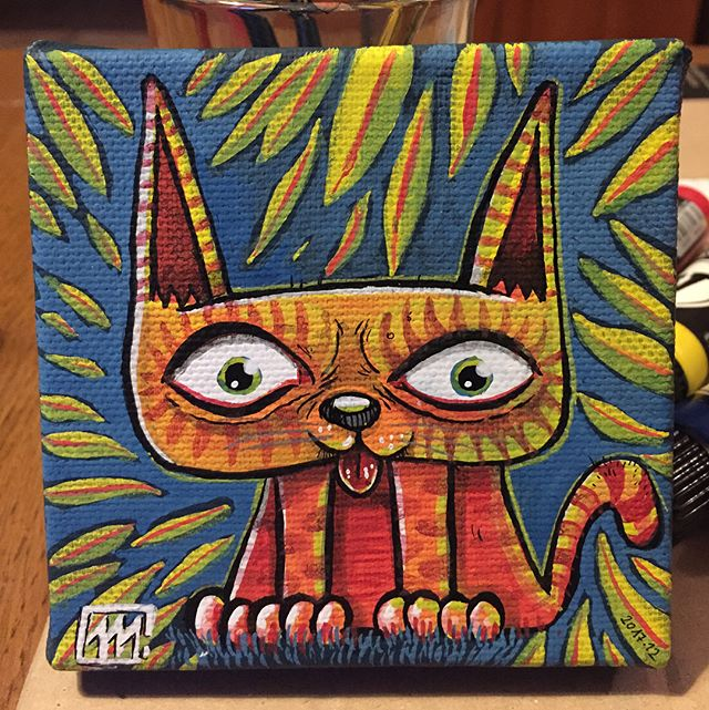 #10cm #acrilyc #paint #painting #speedpaint #cat #chat #molotow #one4all