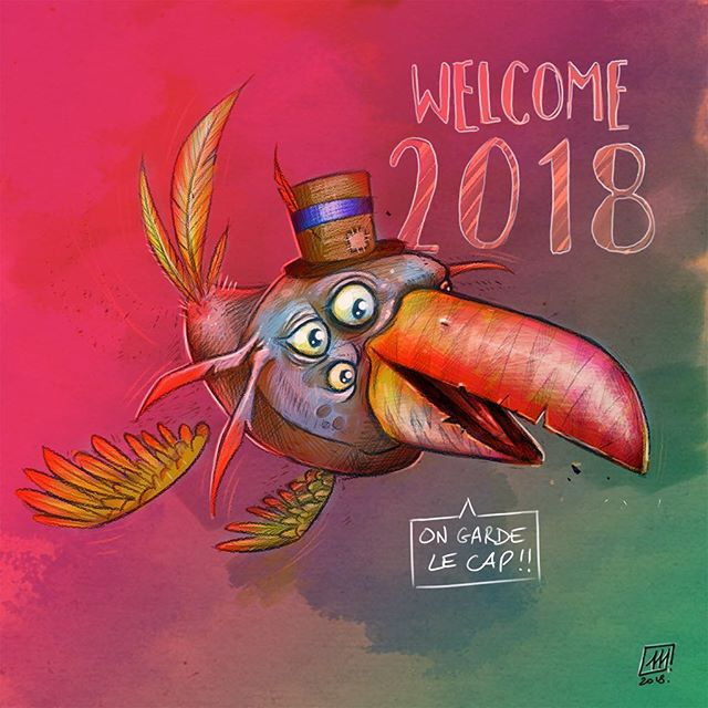 🐤#card #happynewyear #2018 #wacom #cintiq #digitalart #bird #maxrey #drawing #toucantoco #toucan #d